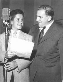 Tommy Cook as Junior and William Bendix as Chester A. Riley in THE LIFE OF RILEY