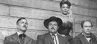 The original cast of GUNSMOKE, CBS Radio 1952-1961 - Howard McNear (Doc Adams), William Conrad (Matt Dillon), Georgia Ellis (Kitty Russell) and Parley Baer (Chester Proudfoot).